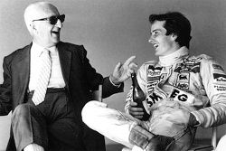 Enzo Ferrari and his spiritual son Gilles Villeneuve sharing a bottle of Lambrusco after a testing s