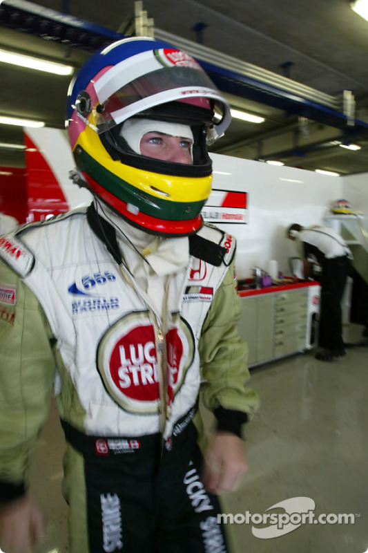Jacques Villeneuve getting ready for the race