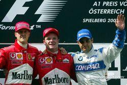 El podio: Michael Schumacher, Rubens Barrichello y Juan Pablo Montoya