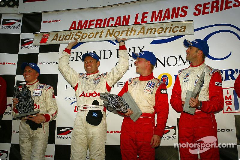 The podium: Johnny Herbert, Tom Kristensen, Jan Magnussen and David Brabham
