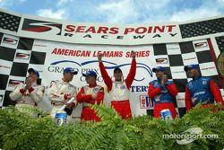 The podium: Johnny Herbert, Tom Kristensen, Jan Magnussen, David Brabham, Bryan Herta and Bill Auber