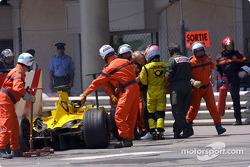 Takuma Sato out, race