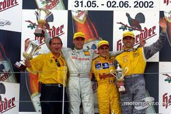 Head of Abt Marketing Harry Unflath, Bernd Schneider, race winner Laurent Aiello and Alain Menu