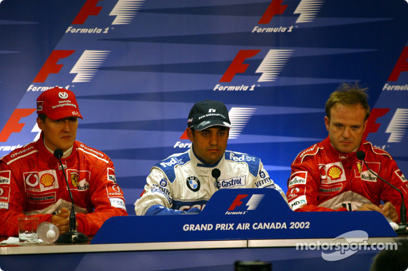 FIA Saturday press conference: pole winner Juan Pablo Montoya with Michael Schumacher and Rubens Barrichello