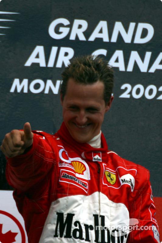 The podium: race winner Michael Schumacher