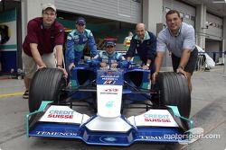 Peter Sauber con Nick Heidfeld y Felipe Massa