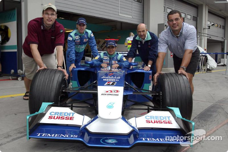 Peter Sauber ve Nick Heidfeld ve Felipe Massa