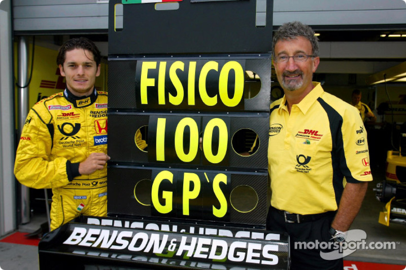 Giancarlo Fisichella celebrating his 100th Grand Prix Career ve Eddie Jordan
