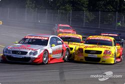 Bernd Schneider, Team HWA, AMG-Mercedes CLK-DTM 2002; Laurent Aiello, Abt Sportsline, Abt-Audi TT-R