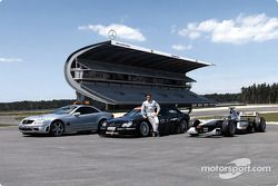 Jean Alesi with the F1 Safety Car Mercedes-Benz SL 55 AMG, his own Mercedes-Benz CLK-DTM and David C
