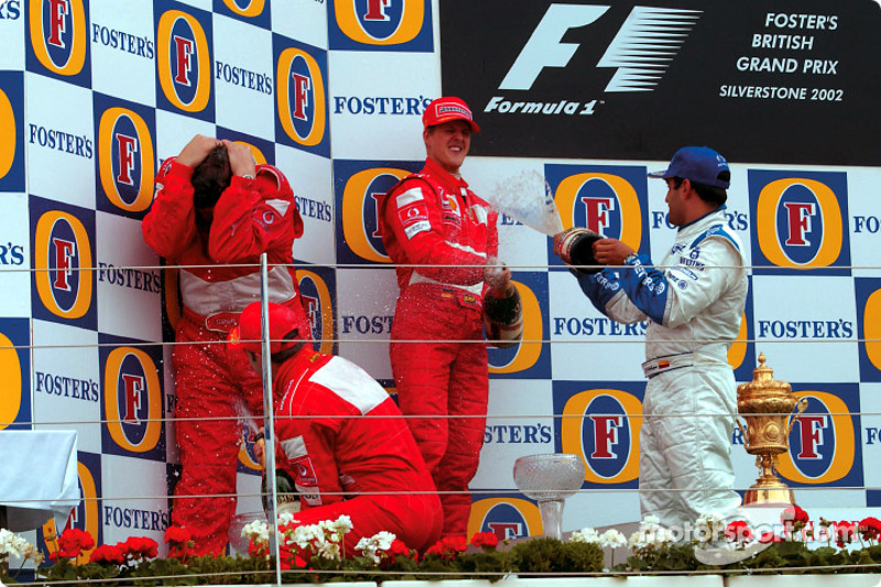 2002 - 1. Michael Schumacher, 2. Rubens Barrichello, 3. Juan Pablo Montoya