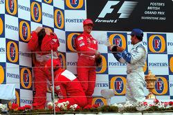 Подиум: победитель Михаэль Шумахер, Рубенс Баррикелло, Хуан-Пабло Монтойя