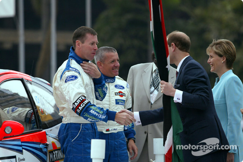 Colin McRae e il copilota Nicky Grist con Prince Edward e sua moglie