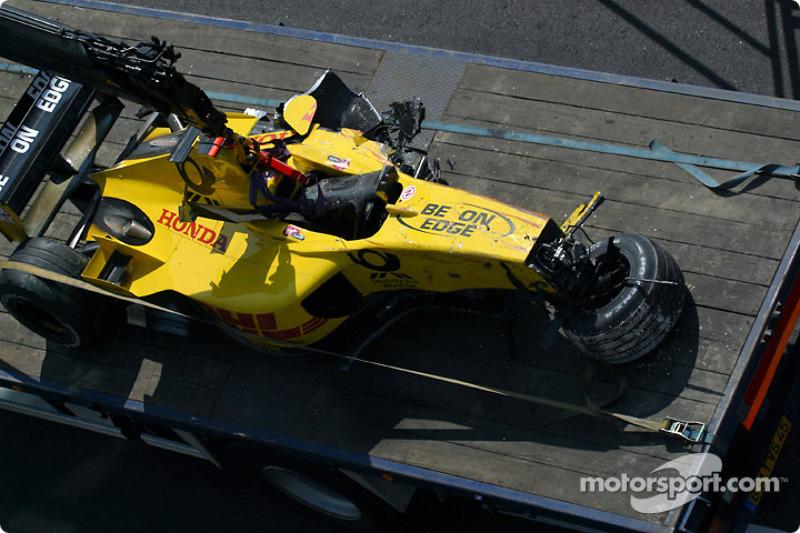 El Jordan Honda de Giancarlo Fisichella tras el accidente