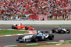 Juan Pablo Montoya, Kimi Raikkonen and Michael Schumacher