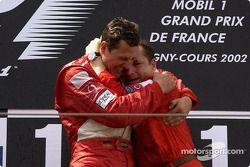 The podium: Michael Schumacher and Jean Todt