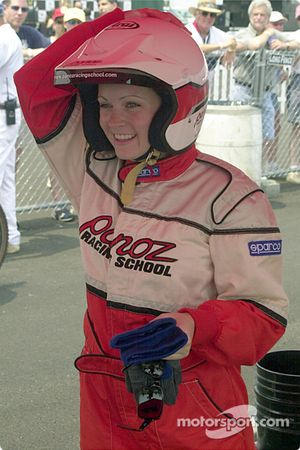 Melissa Joan Hart getting ready for the celebrity practice session