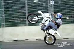 Robbie Knievel doing a wheel stand