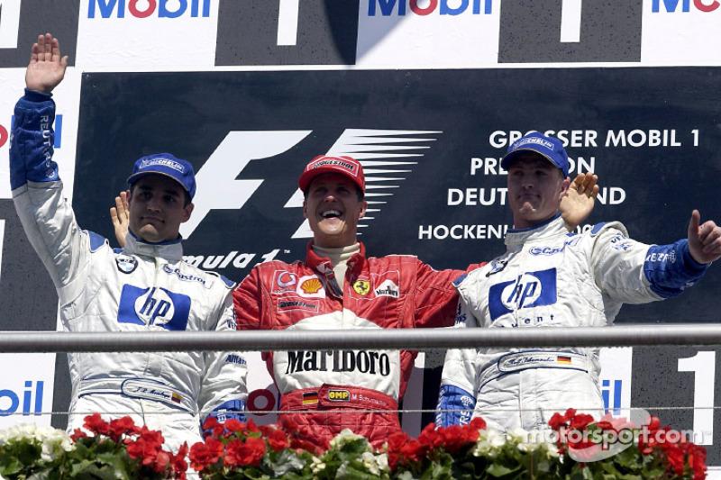 2002: 1. Michael Schumacher, 2. Juan Pablo Montoya, 3. Ralf Schumacher
