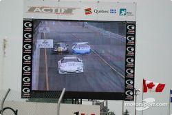 La course sur l'écran géant