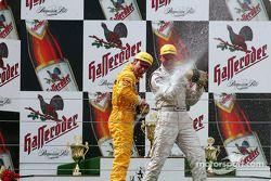 The podium: race winner Uwe Alzen with Laurent Aiello