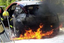 Colin McRae's Ford on fire