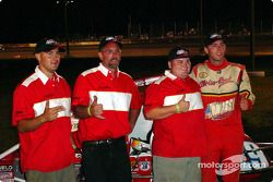 Bud Kaeding and crew celebrate in victory lane after Kaeding won Friday night's SCRA Non-Winged World Championship 20-lap feature
