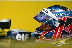 Jenson Button lors du tour de chauffe ce matin