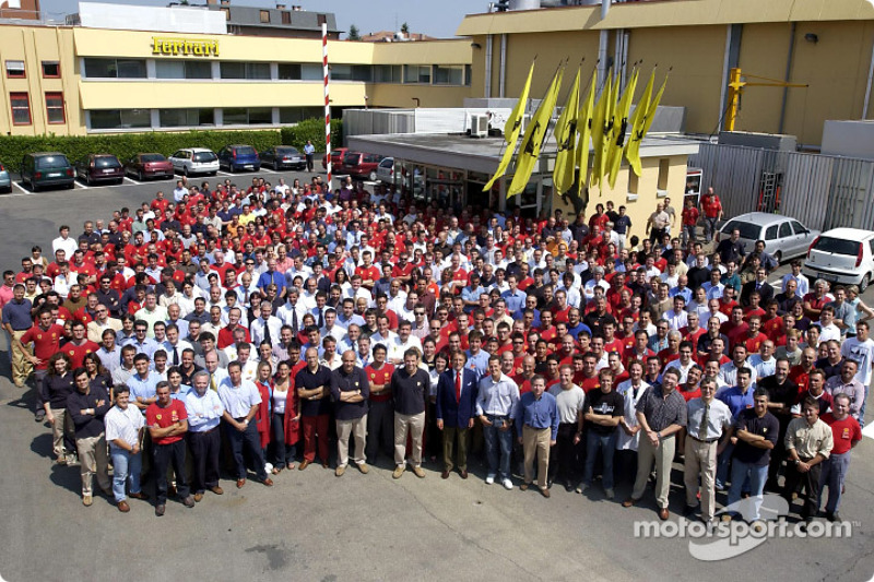 Team Ferrari celebrating its 4th consecutive Constructors World Championship at Maranello