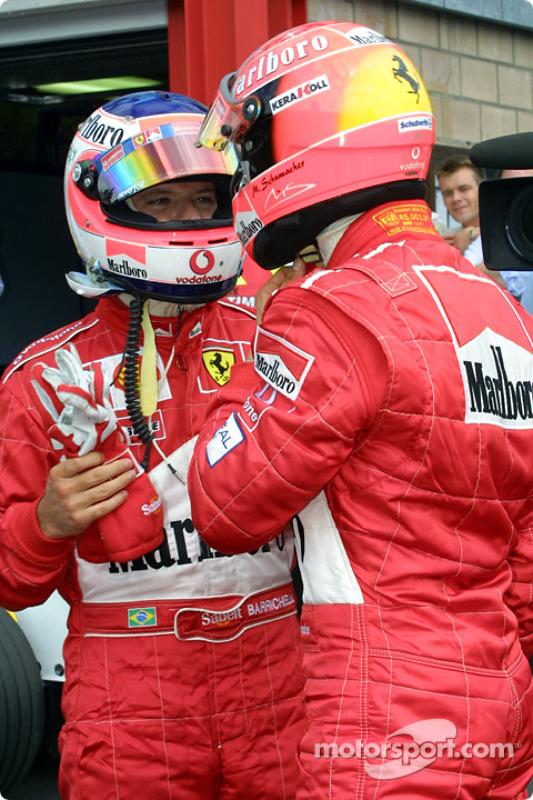 El ganador de la pole, Michael Schumacher y Rubens Barrichello