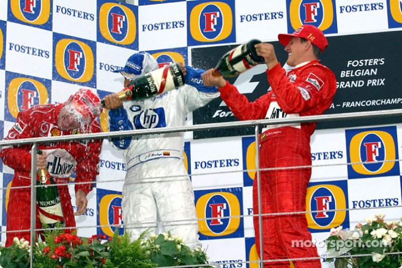 Podyum: Michael Schumacher, Rubens Barrichello ve Juan Pablo Montoya