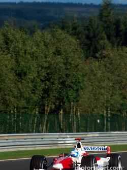Mika Salo durante la sesión de calentamiento