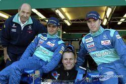 Peter Sauber, Felipe Massa, Nick Heidfeld and guest