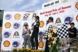 The podium: race winner Boris Said with Butch Leitzinger and Stuart Hayner