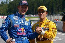 Mattias Ekström y el ganador de la pole, Laurent Aiello