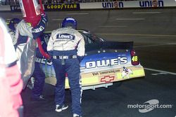 A splash of gas for Jimmie Johnson on the last lap