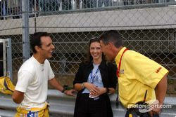 Laurent Aiello and wife Geraldine with race engineer Ludovic Lacroix