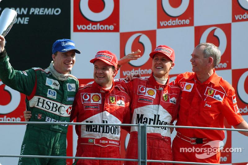 2002: 1. Рубенс Баррикелло, 2. Михаэль Шумахер, 3. Эдди Ирвайн