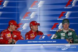 Пресс-конференция: победитель гонки Рубенс Баррикелло, Михаэль Шумахер, Эдди Ирвайн