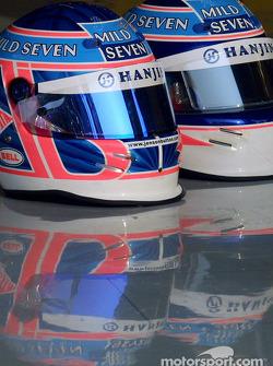 Jenson Button and Jarno Trulli's helmets