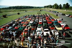 Cars line up for the Glenora Run Road Rally