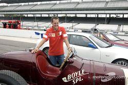 Michael Schumacher with the three Maseratis: 8CTF, Trofeo and Spyder