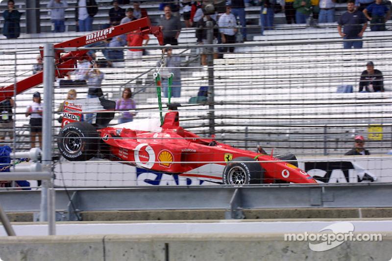 Rubens Barrichello's damaged Ferrari