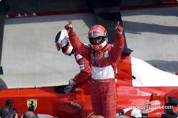 Pole winner Michael Schumacher with Rubens Barrichello