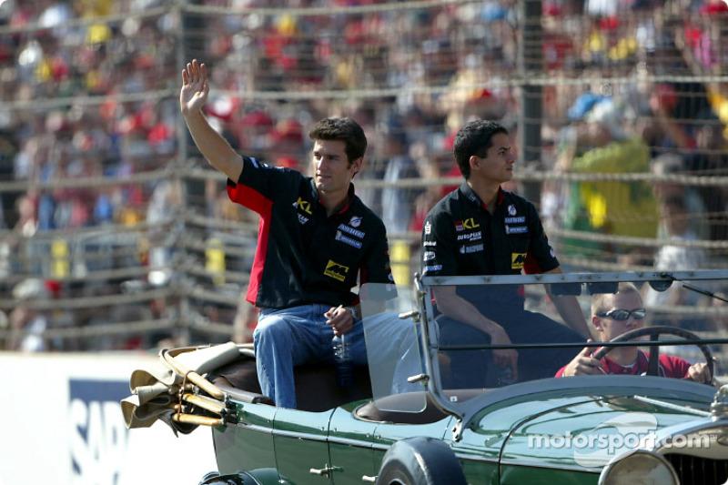 Drivers' parade: Mark Webber and Alex Yoong