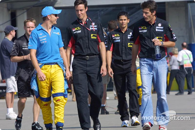 Jenson Button, Alex Yoong y Mark Webber