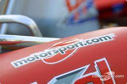Detail of the front nose of the Birel Motorsport 100cc kart