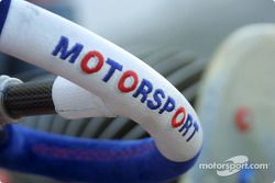 Detail of the steering wheel of the Birel Motorsport 100cc kart