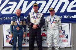 The podium: race winner Joe Huffaker with Doug Peterson and Jay Iliohan