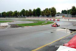 Donatella Di Giorgio on wet pavement with slick tires